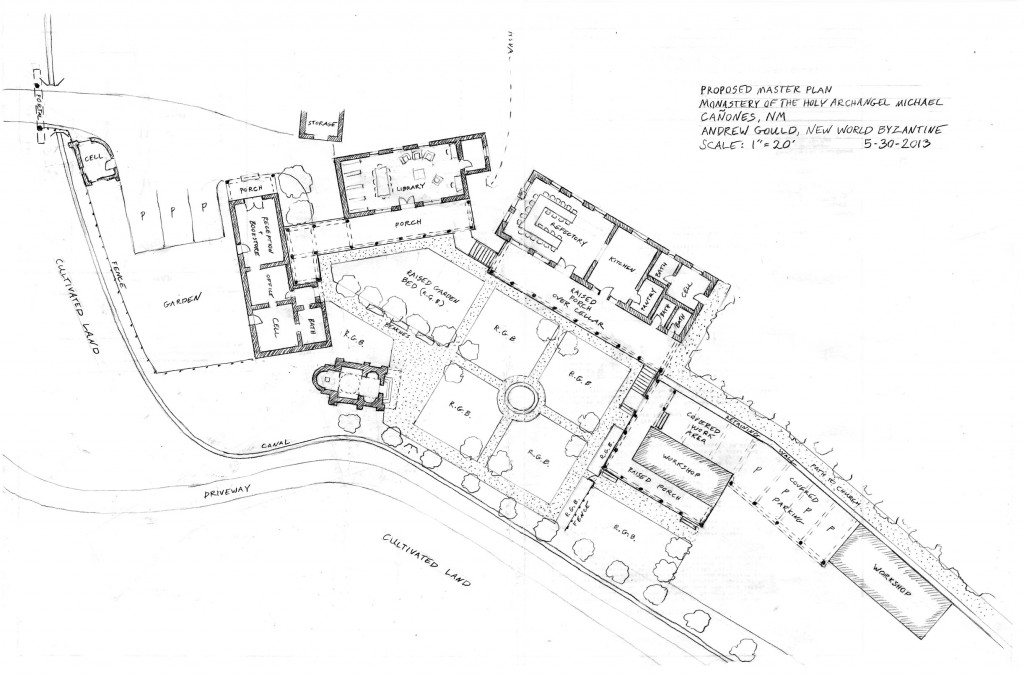 A master plan for Saint Michael Skete, New Mexico, designed by the author. The buildings frame courtyard spaces subdivided into raised garden beds following the ancient cross-in-square geometry.