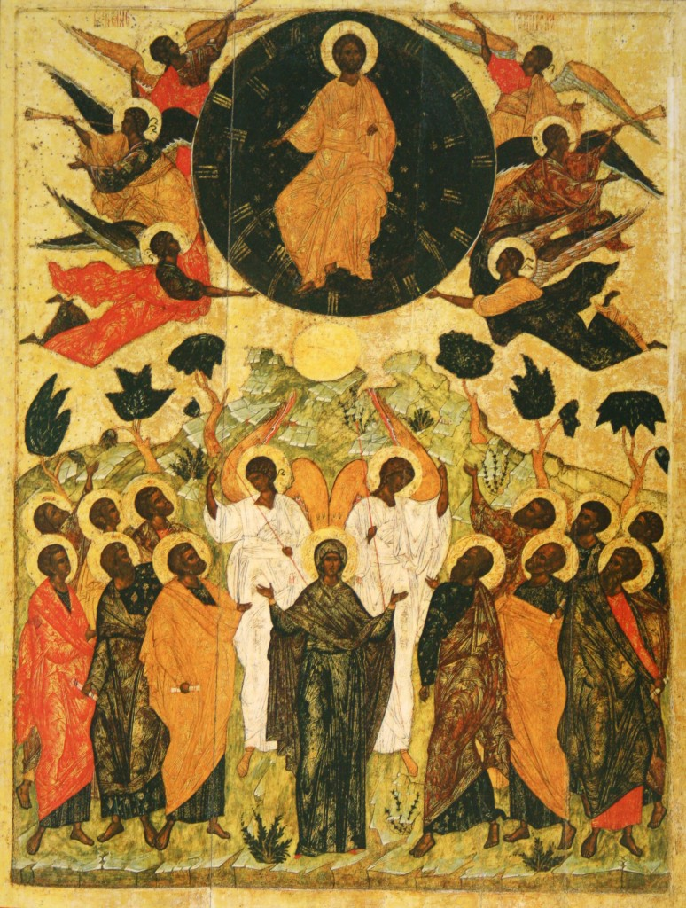Above and Below, the visible opposition of Christ in Heaven and the Church below is the most simple image of the icon itself.