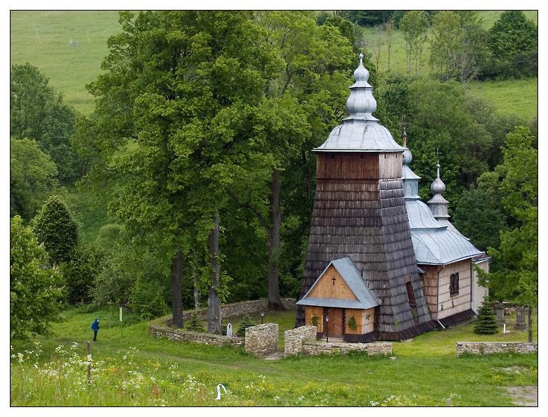 A Carpatho-Rusyn church with a tiny, but well-defined churchyard, Chyrowa, Poland
