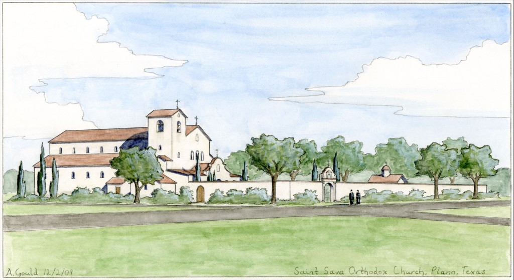 Proposed design for an Orthodox church in Plano, Texas, by the author. Because the site lies along a highway, I proposed to enclose it in a tall wall to shelter the gardens from the view and sound of traffic.
