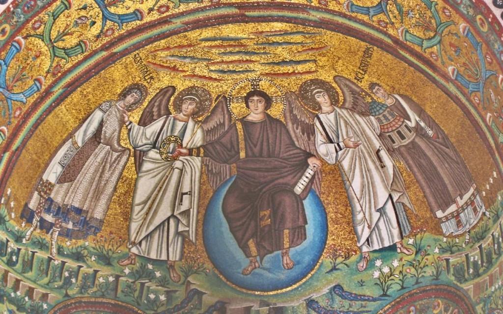 Christ sits on the cosmic orb. Ravenna. 6th century