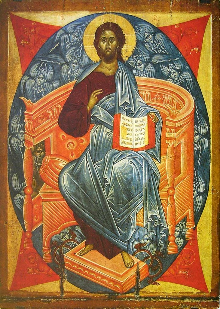 15th century Christ in majesty. Russia