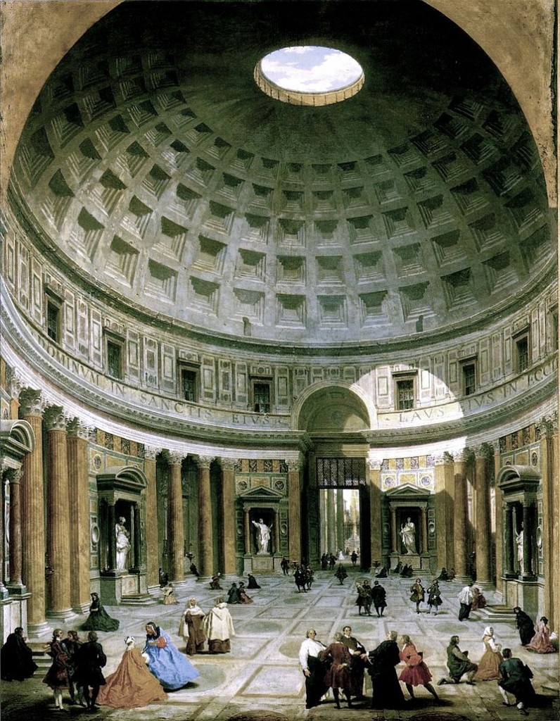 Inside of the Pantheon of Rome. 18th century painting by Giovanni Paolo Panini