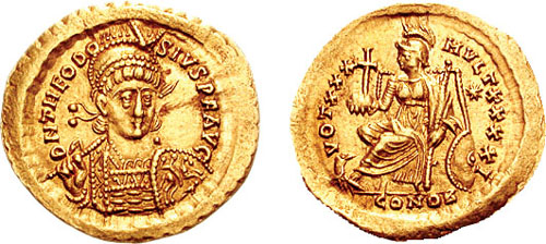 Coin of Theodosius II where he is shown holding the globus cruciger