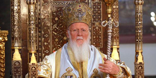 Ecumenical Patriarch Bartholomew wearing an elaborate mitre.