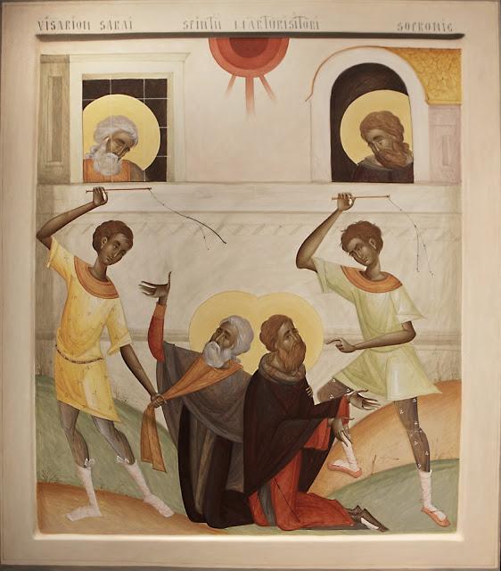Contemporary Romanian icon by Mihai Coman, St. Vissarion (Bessarion) Sarai, and St.Sophronie of Ciorara, Egg tempera.