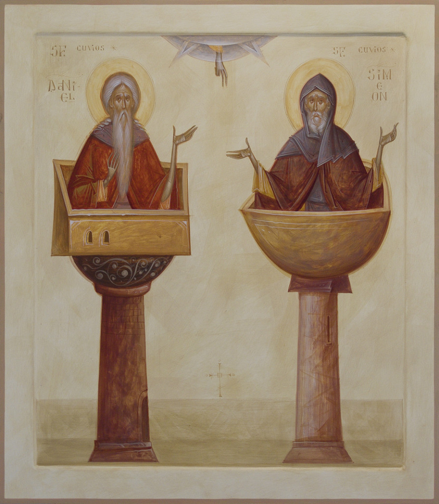 Contemporary Romanian icon by Thoma Chituc, Holy Fathers Simeon Stylites and Daniel, Mixed technique (color water based emulsion), 70 x 80 cm