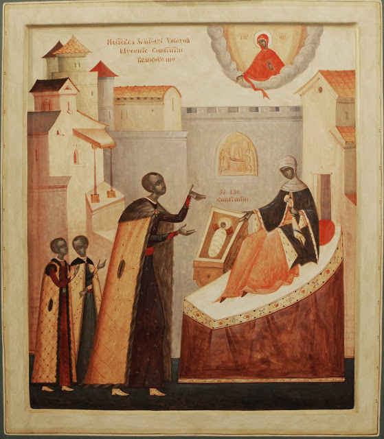 Contemporary Romanian icon by Thomas Chituc, Icon of the Nativity of the Holy Martyr Prince Constantine Brancoveanu Mixed technique (color water based emulsion), 70 x 80 cm.