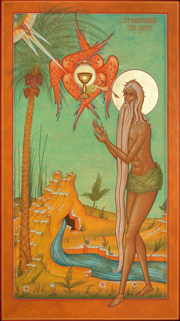 Contemporary icon by Fr. Silouan Justiniano, St. Onouphrios the Great, Egg tempera on wood, 18 1/4 x 32 1/4. This icon applies the principles discussed in the article. It depicts the saint being given the Holy Eucharist by an angel, as described in his life. The composition is new. The composition is new. Although it is not a copy of a previous prototype it does not depart from Tradition. It is grounded in a very specific detail of the saint's life and the general features that tie all of his icons together.