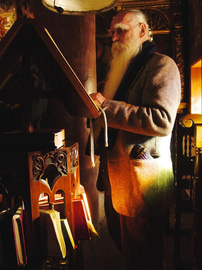 Donald (Donatos) Sheehan standing at the reader's stand at the Monastery of Giromeri in Northern Greece.