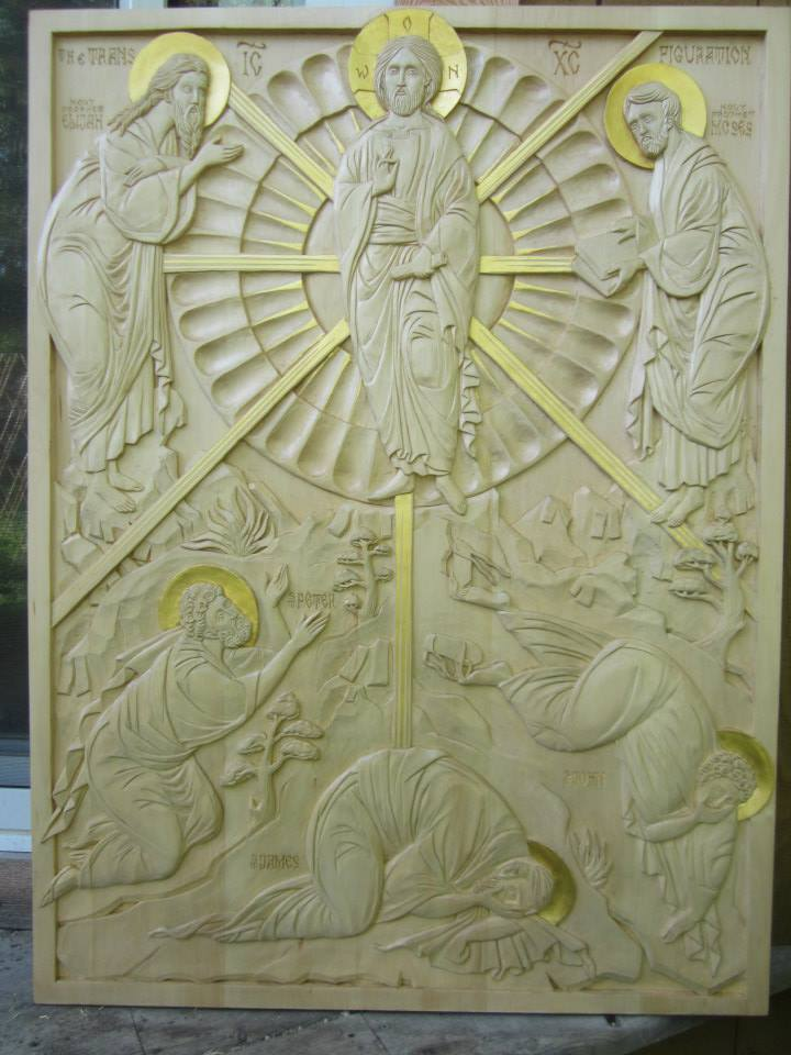Transfiguration carved by  Jonathan Pageau in linden.