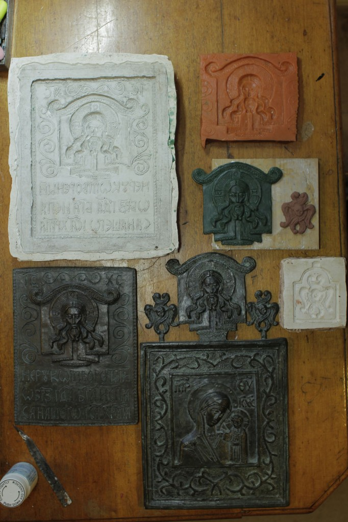 Moulds, wax and plasticine models and bronze cast icons