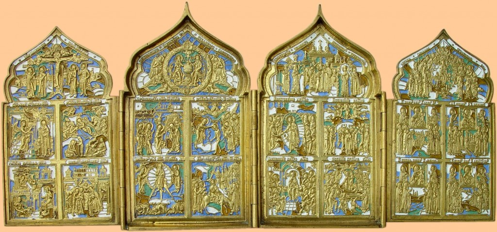 22 old believers four part hinged icon