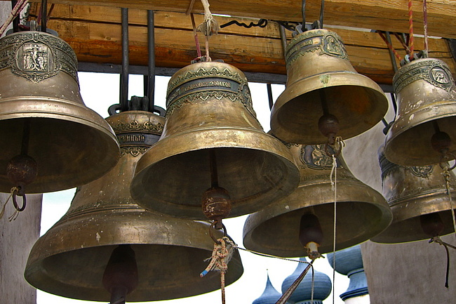 32 church bells with relief icons