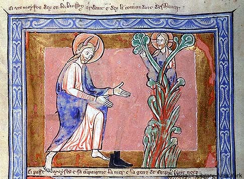 Moses at the burning bush, Huntington Psalter, England.  13th century.