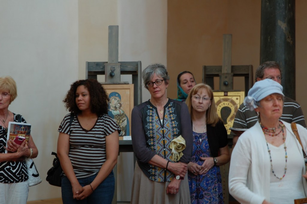 Icons painted by Philip Davydov and Olga Shalamova of Sacred Murals Studio were on display