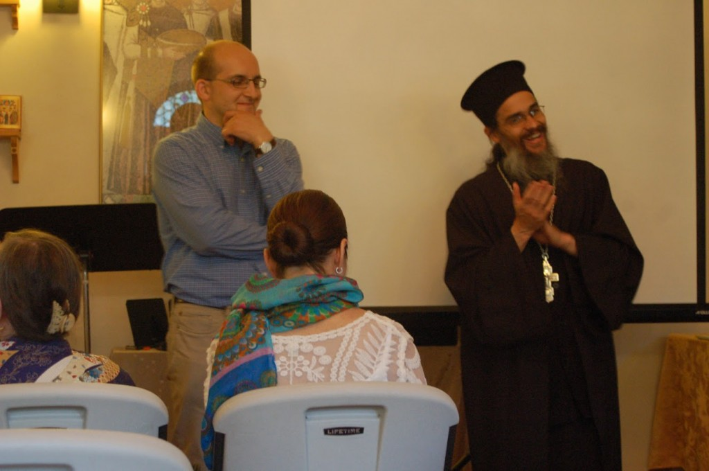 Philip Davydov and Fr. Silouan answering questions before vespers