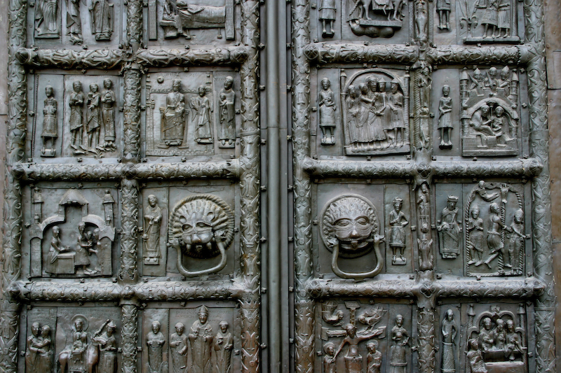 Detail of gates of St-Sophia in Novgorod.