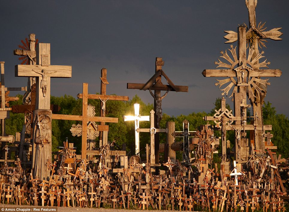 Hill of Crosses in Lithuania, filled with religious folk carving