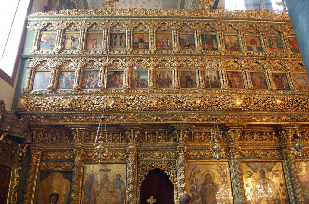 The gilded and painted iconostasis at the Patriarchal Cathedral of St. George, Istanbul.
