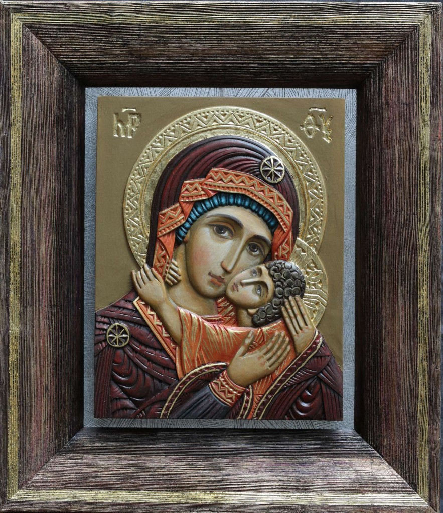 """Azbuhanov. """"Mother of God. """" Example of fully colored carved icon"""