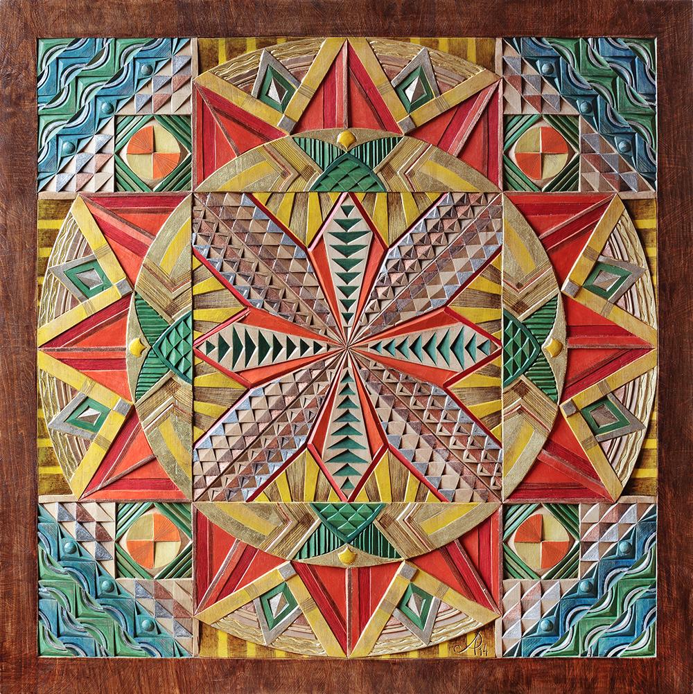 5. Египет 2013, 75х75 см, дерево, резьба, пигменты, цветные металлы, золото