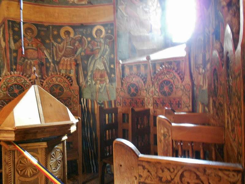 Old painted stasidia from a monastery in Moldova.