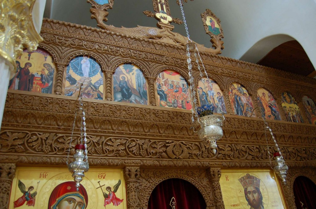 An exquisitely carved modern Greek iconostasis at Saint Anthony Monastery, Arizona