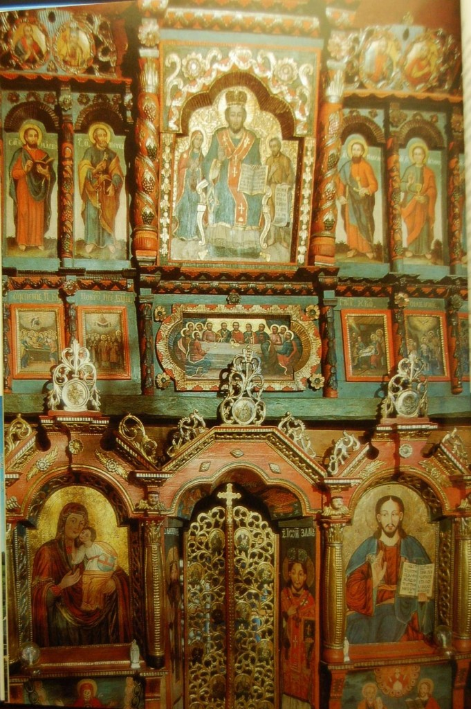 An charming painted iconostasis in a Carpatho Russyn log church, Slovakia.