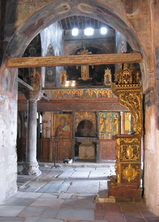 An old painted iconostasis in an ancient Byzantine church, Nessebur, Bulgaria.