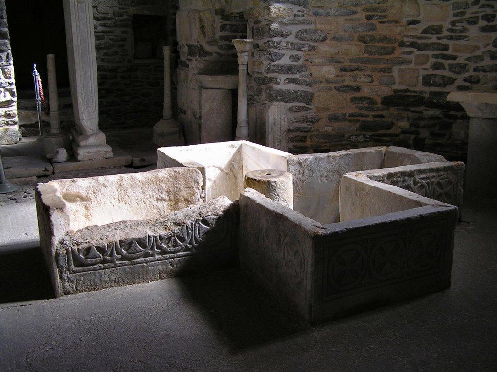 11th century baptismal font.  Panagia Ekatontapyliani cathedral in Paroikia on the island of Paros.