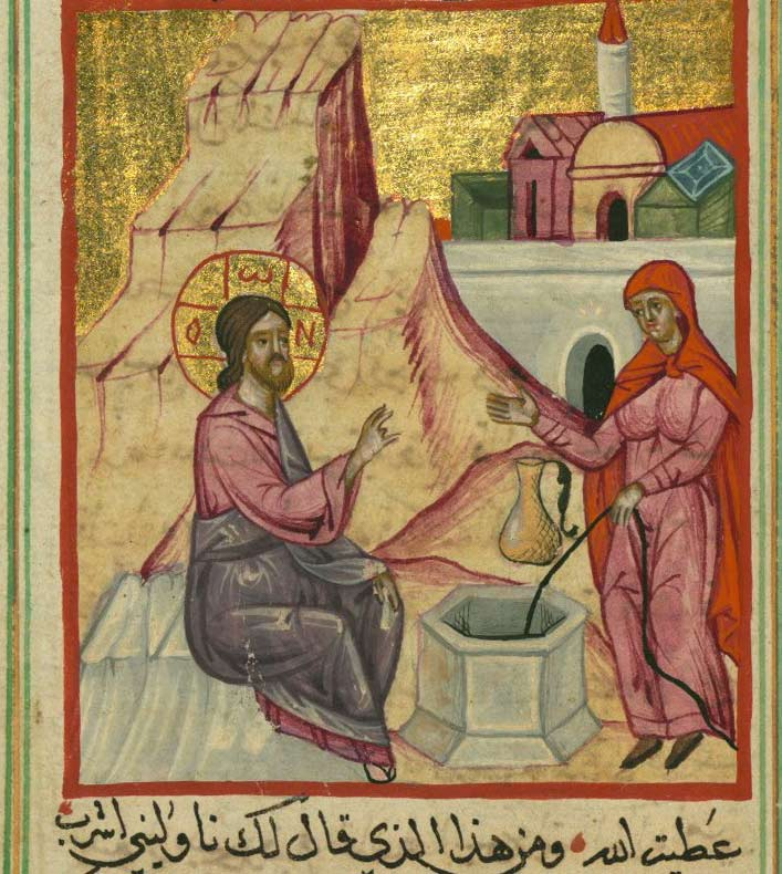 St-Photini (The Samaritan woman) and Christ at the well, from a Syrian manuscript.
