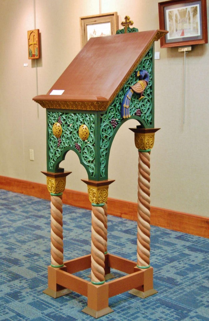 The analogion is currently on display at an exhibition of Andrew Gould's liturgical art at the Charleston County Main Library in Charleston, SC - open through 7/31/15.