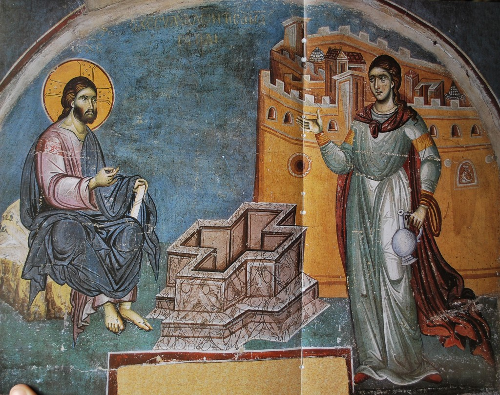 Fresco of Christ and St-Photini, by Panselinos, 14th century