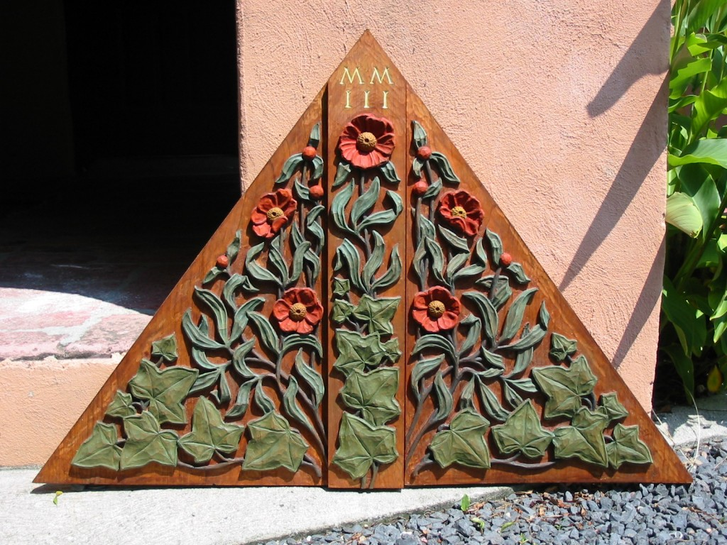 Gable panel for the entry porch of a new house, carved in white pine and painted by Andrew Gould