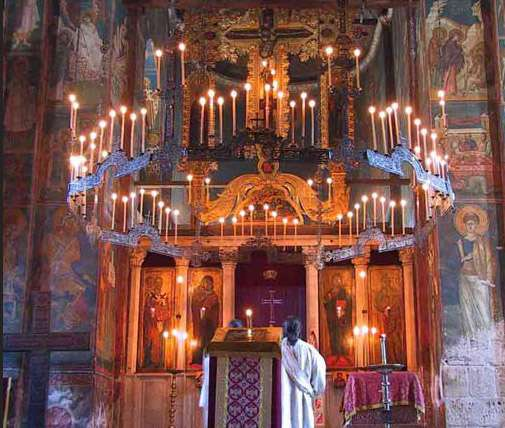 Decani monastery, 14th century, Serbia, showing the emphasis that traditional lighting places on the icons.