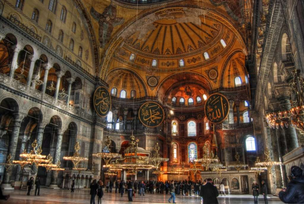 Agia Sophia, Constantinople. Interior, showing the effect of carefully chosen windows and geometric forms.