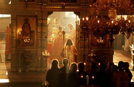 Valaam Monastery, showing how oil lamps illuminate just the icons.