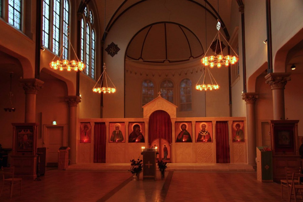 St Nicholas Russian Orthodox Church, Amsterdam, showing the effect of the coloured glass bowls on the lighting.