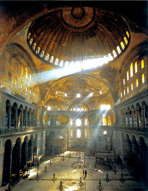 Agia Sophia interior, showing the play of light created by skilfully placed and sized windows.