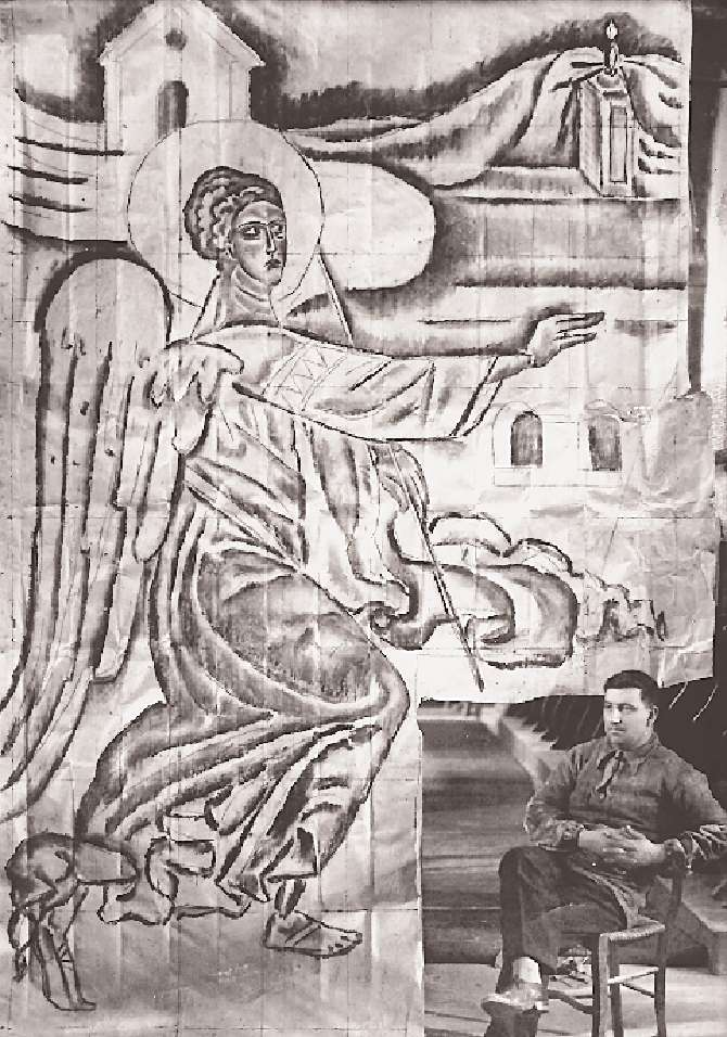 Spyros Papaloukas in front of a large scale drawing at the Amphissa Cathedral
