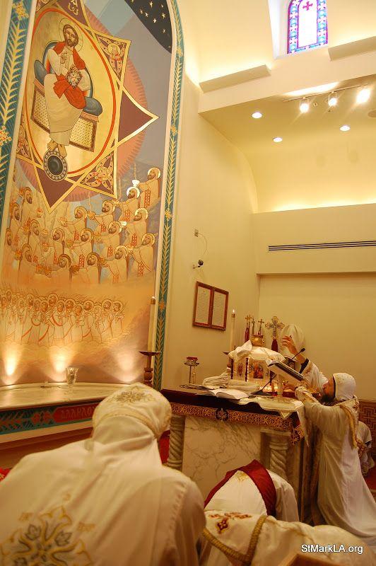 Pantocrator by Isaac Fanous during Coptic liturgy.