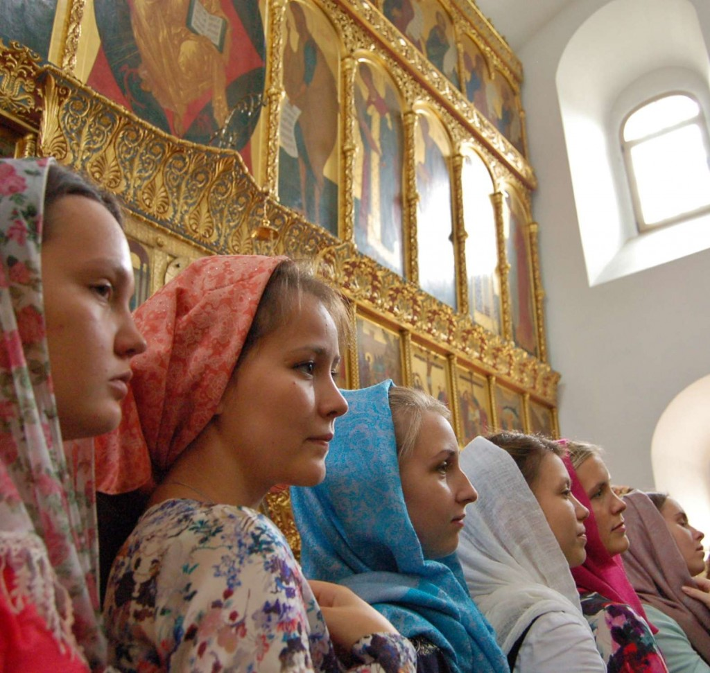 Singers gathered in the Podvorye Church at the conclusion of Divine Liturgy