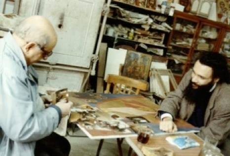 Dr Isaac and René at the ICS studio 1986