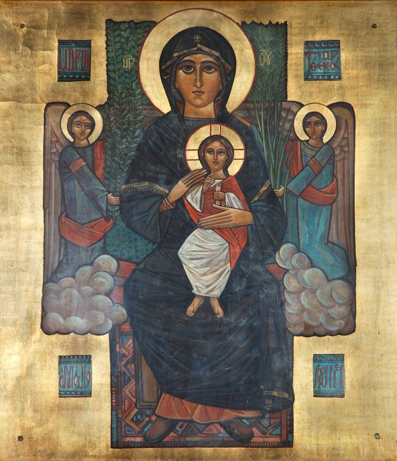 Early icon of the Virgin by Isaac Fanous, circa 1970.  St George Coptic church, Sporting, Alexandria