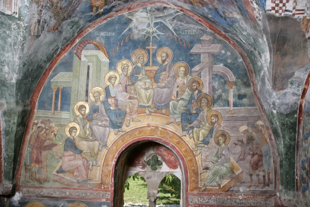 Serbian Fresco with a wonderful use of the door of Jerusalem which now leads literally outside the Church.