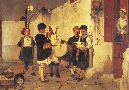 A painting depicting traditional Christmas carolers in Greece