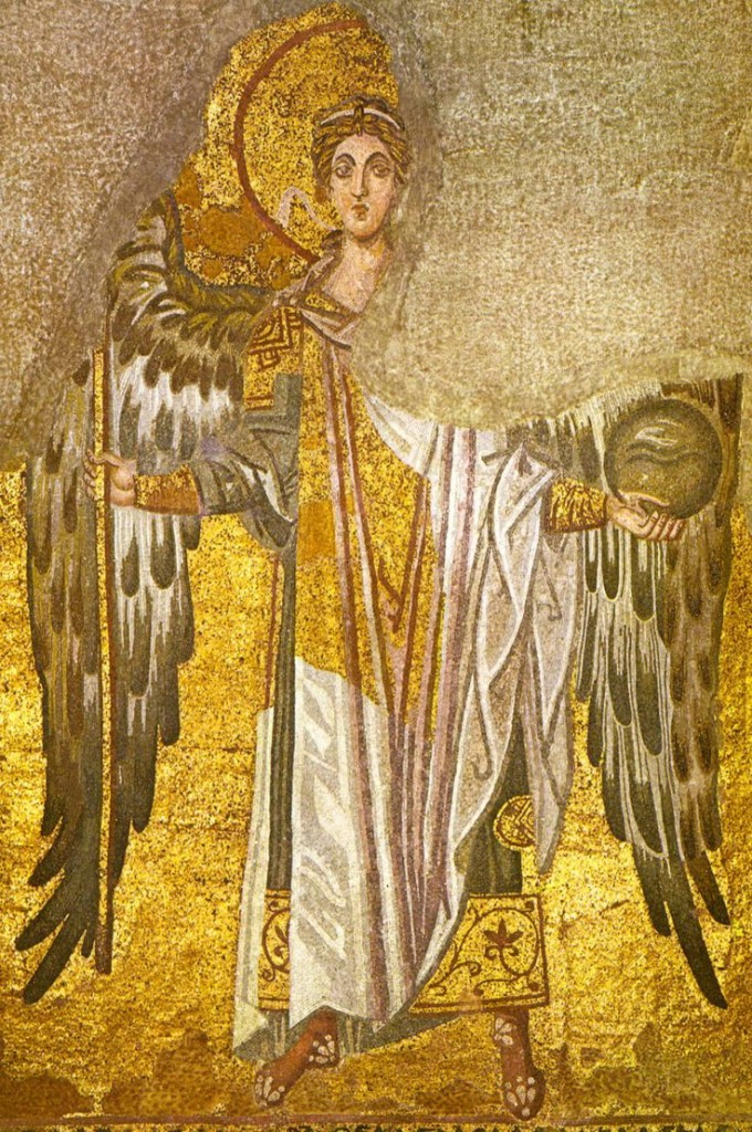 Archangel Gabriel, apse mosaic,  Hagia Sophia, 9th cent.   The solidity of  Archangel Gabriel's body seems to dissolve as the gold decoration in his garments, such as the large rectangle across his torso, becomes one with the background. In using the visual ambiguity caused by this figure/field interchange device, the iconographer captures the angel's neither here nor there status between the noetic and corporeal worlds.