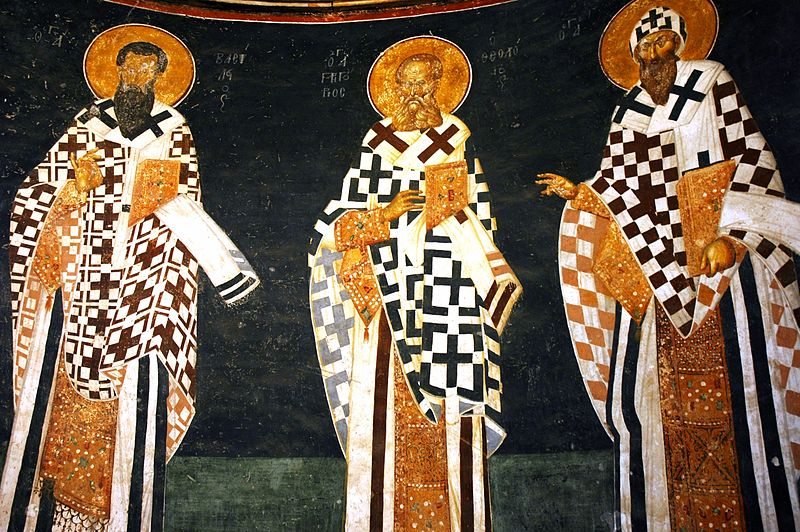 St. Basil,  St. Gregory the Theologian, and St. Cyril of Alexandria, 14th cent. Parecclesion of the Church of Chora, Constantinople.
