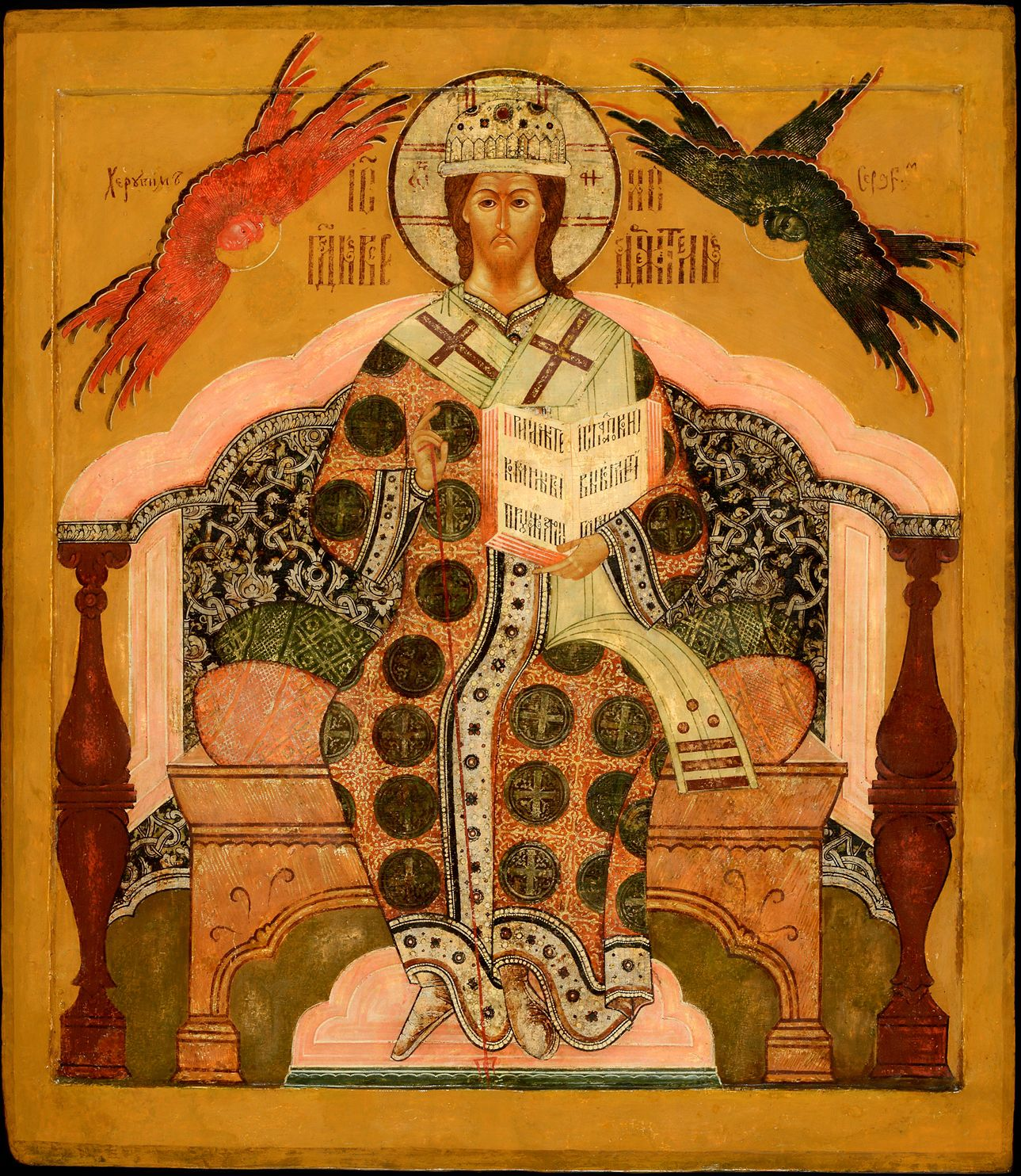 Christ Enthroned as High Priest, Russia, Kostroma region, Mid 17th cent. 98 x 85 cm. Collection: Jan Morsink Ikonen, Amsterdam, The Netherlands. A good example of a style that leans more towards abstraction.
